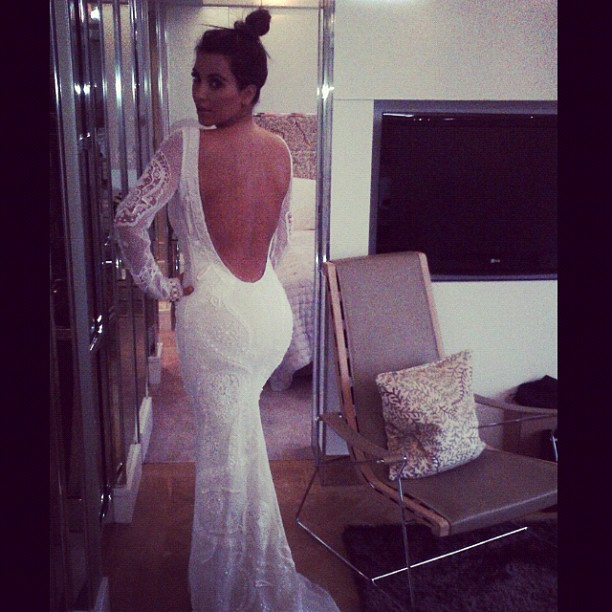 ... Cut Out Back Wedding Dress · First We Hear Reality Tv Star Kim  Kardashian Wants To Have A Baby From Boyfriend Kanye ...
