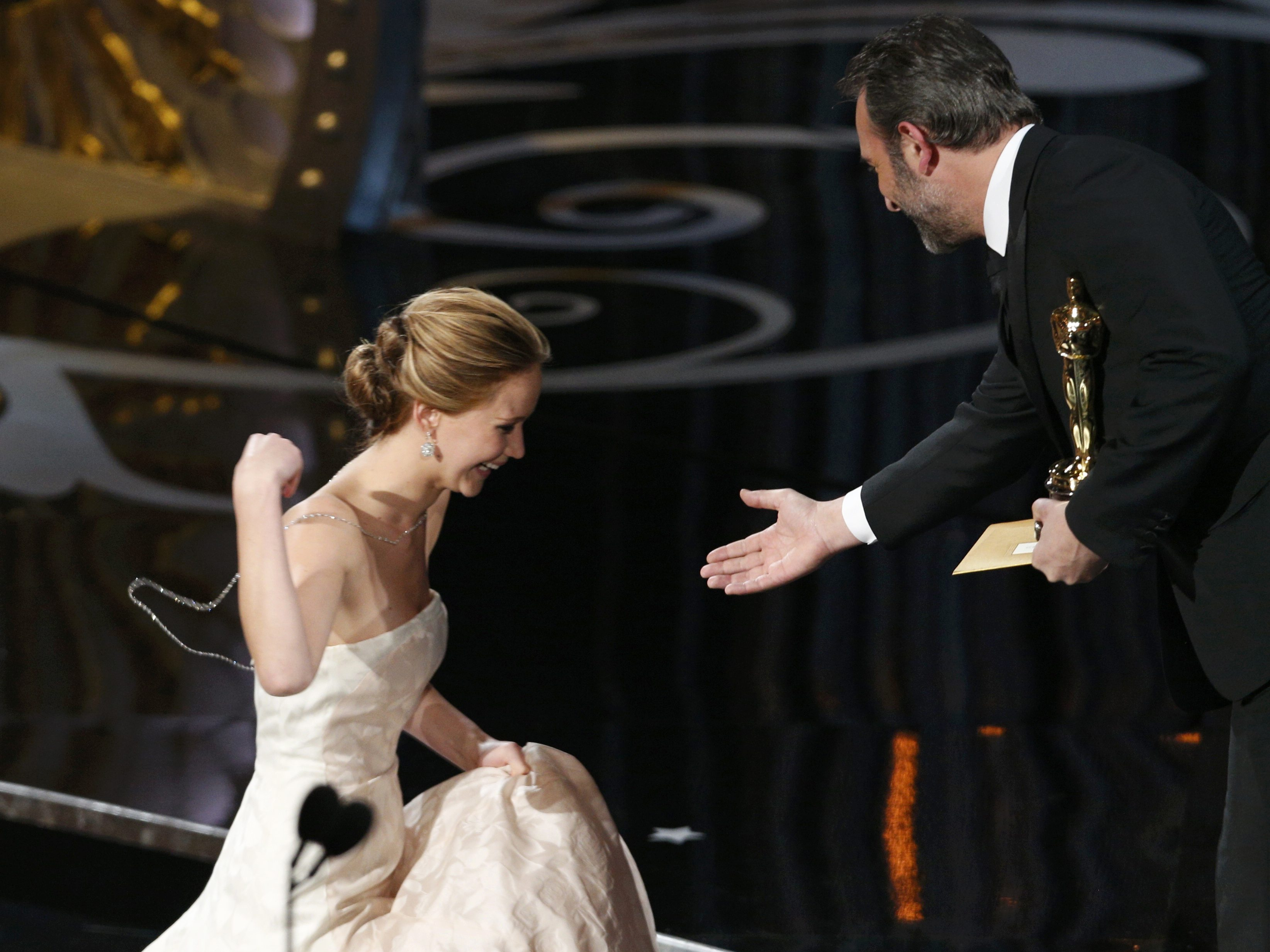 Jennifer Lawrence's moment: Trip, fall, win ...