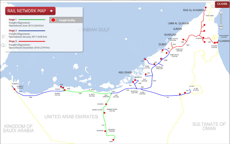 2017 Abu Dhabi to Dubai by train Emirates 247 – Abu Dhabi Dubai Map