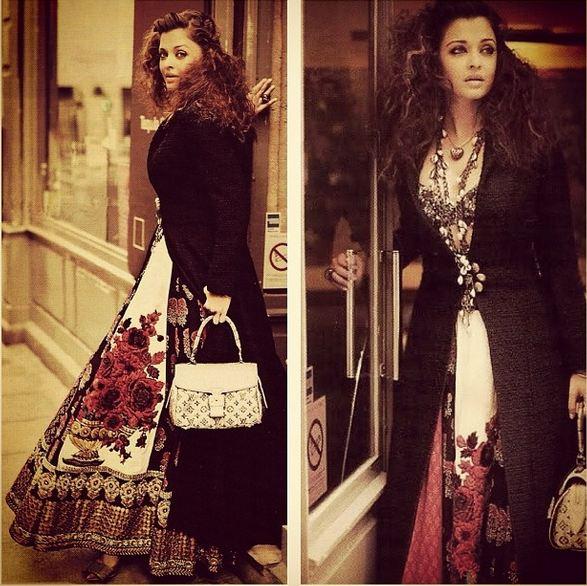 c8ab76ed93d6d6 Bollywood beauty Aishwarya Rai Bachchan popses in Indian designer  Sabyasachi Mukherjee's latest creation.
