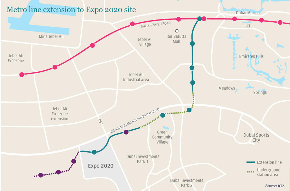 dubai metro map 2019