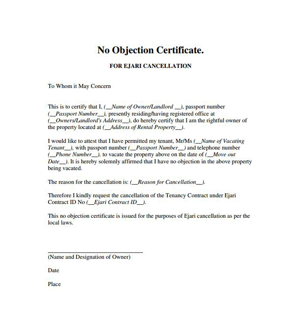 Noc Template printable certificates of achievement – Letter of No Objection Template