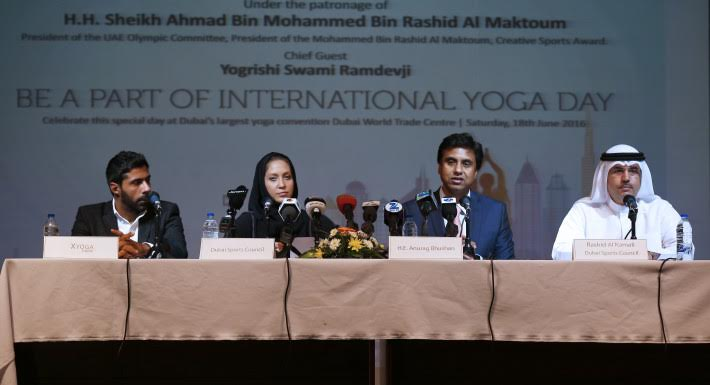 From Left Mr Javad Khoramifar Marketing Director X Yoga Ms Hessa Al Kous Sports Events Planning Manager Dubai Council Anurag Bhushan