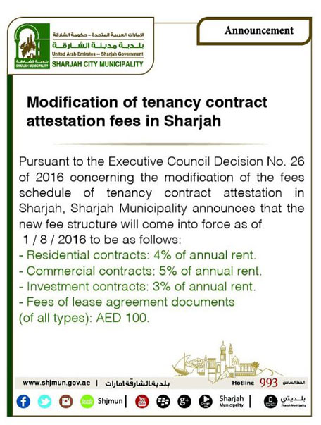 Sharjah Rent Contract Registration Fee Doubled From August