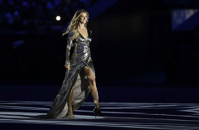Model gisele bundchen walks on stage as the girl from ipanema during