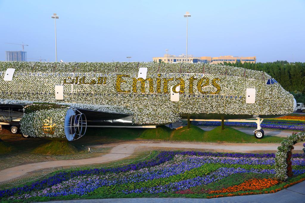 The emirates a380 blossoms at dubai miracle garden for Home garden design dubai