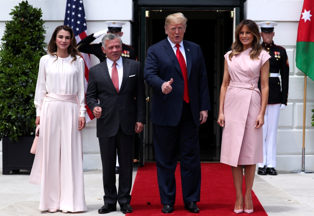 fba8903f783 Melania Trump and Queen Rania of Jordan twinned in pink for White House  visit