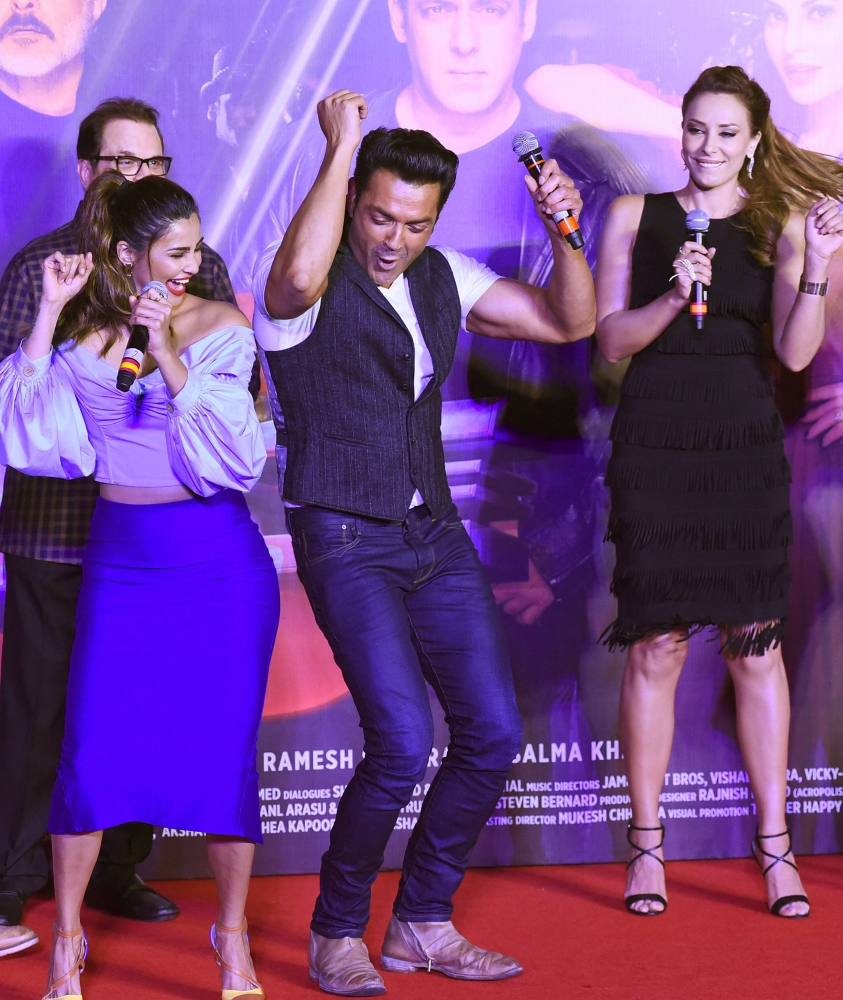baffc190bf47a Salman Khan attends with cast and singers the music launch of the upcoming  action thriller Hindi film  Race 3  in Mumbai. (AFP)