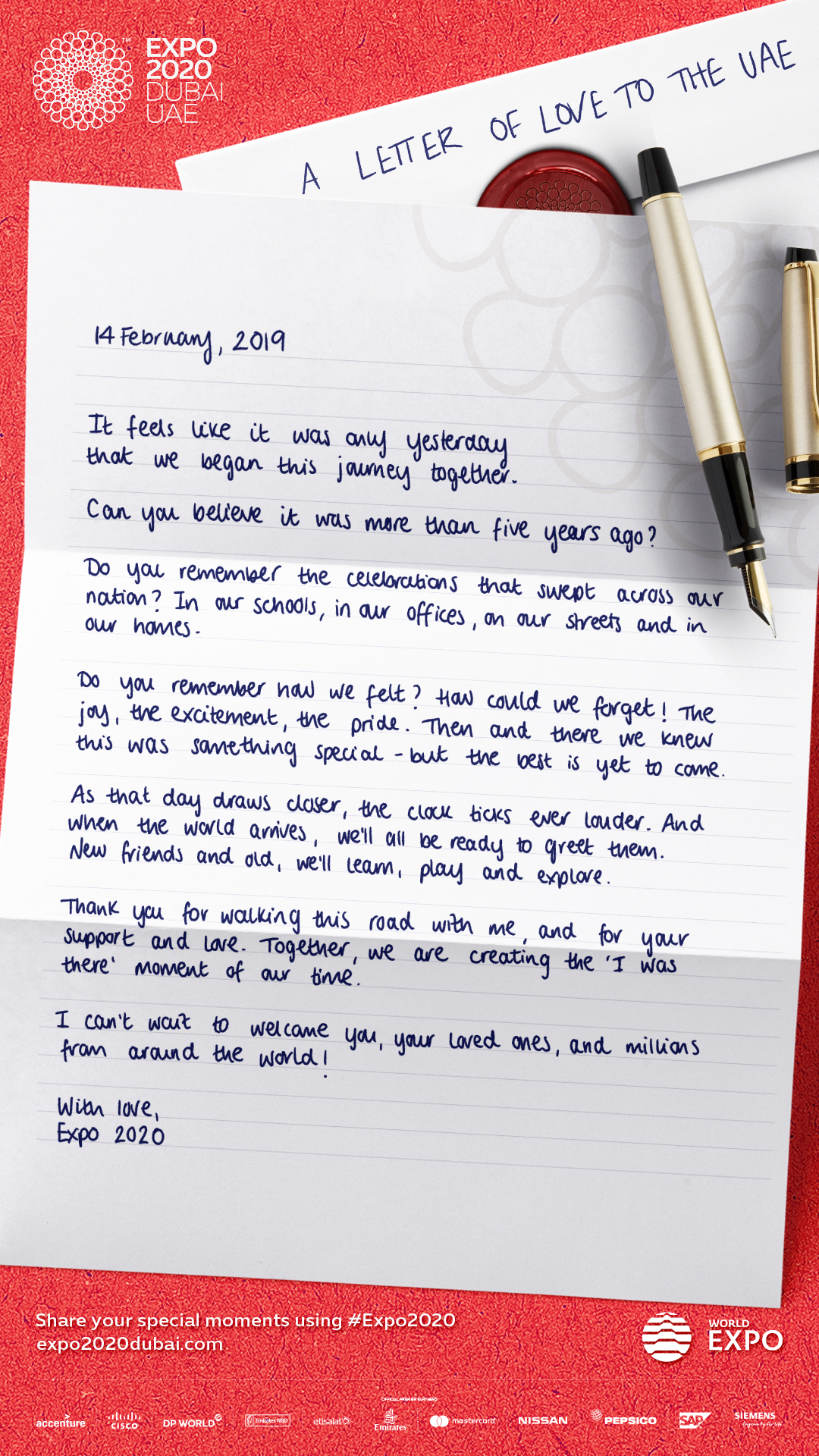 Best Years Expo 2020 Expo 2020 sends a letter of love to the UAE   Emirates24|7